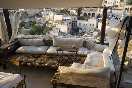 Balkon Sichtschutz mit Vorhängen