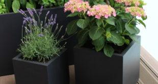 Moderne Pflanzkübel aus Fiberglas für den Außenbereich