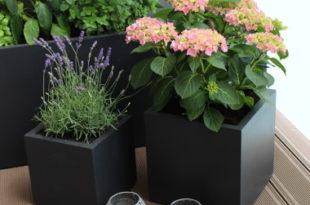 Balkonideen moderne rechteckige Pflanzkübel aus Fiberglas
