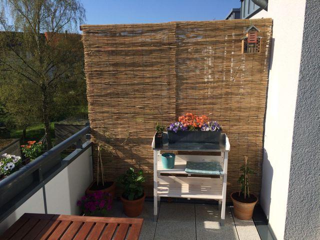 Balkon Bambus Sichtschutz selber gebaut