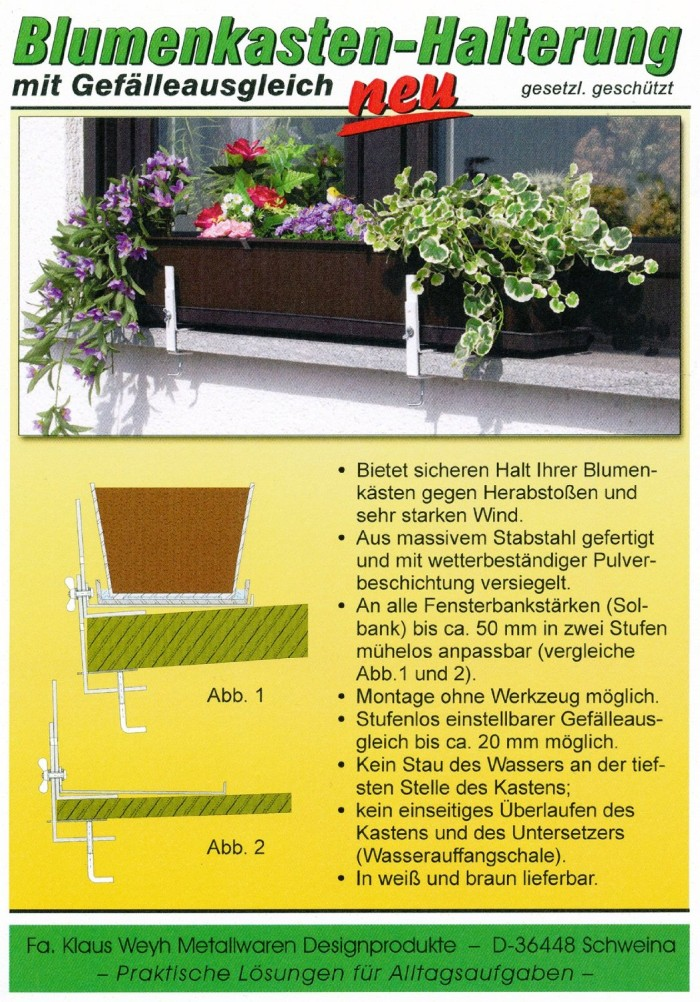 Blumenkastenhalterung für Fenster ohne bohren für schräge Fensterbank